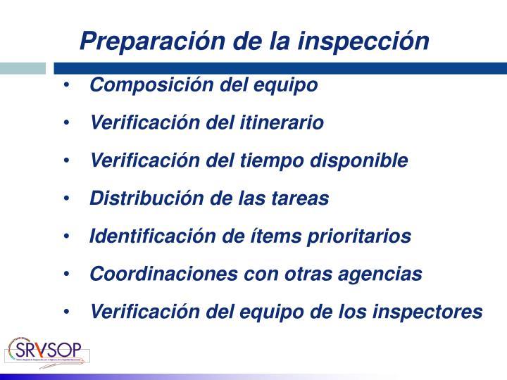 Preparación de la inspección