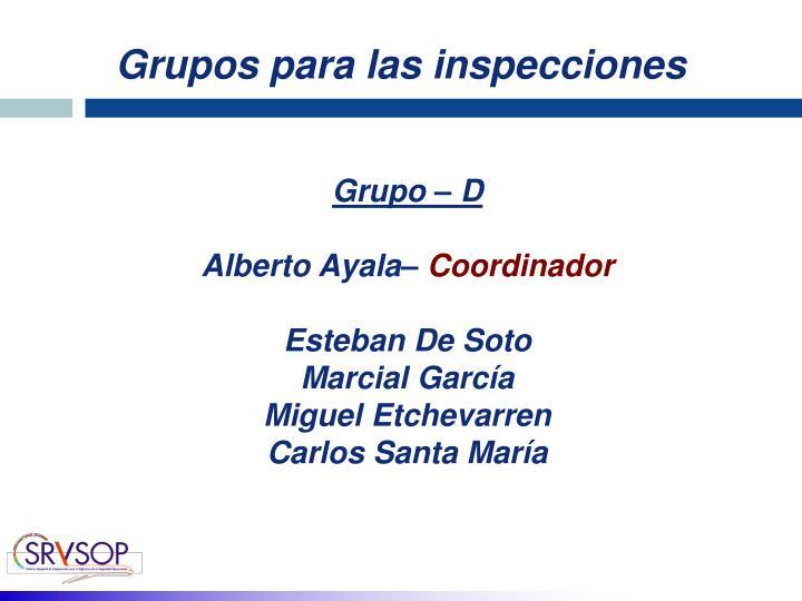 Grupos para las inspecciones