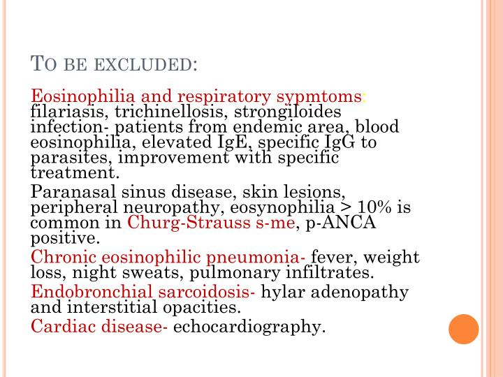 To be excluded: