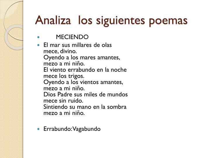 Analiza  los siguientes poemas
