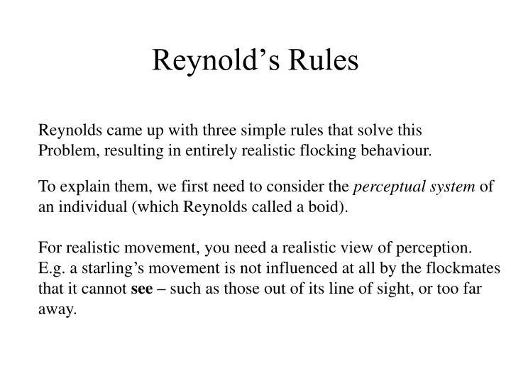Reynold's Rules