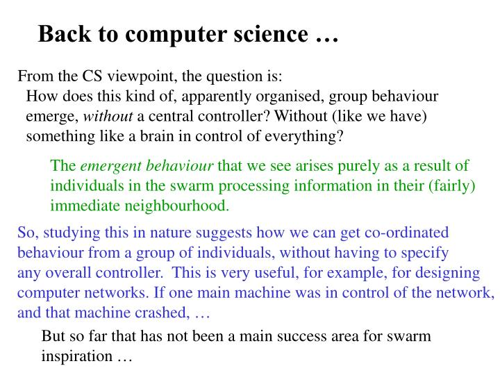 Back to computer science …