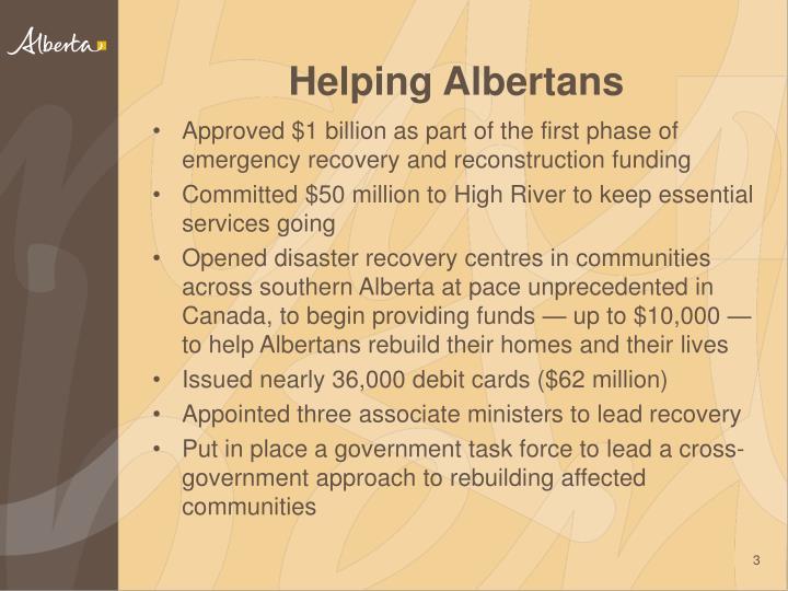 Helping Albertans