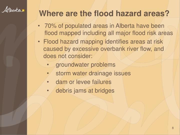 70% of populated areas in Alberta have been flood mapped including all major flood risk areas