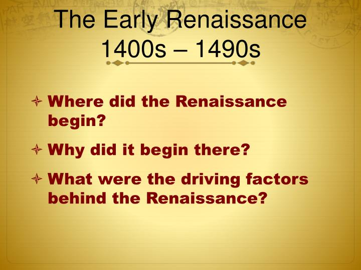 The early renaissance 1400s 1490s