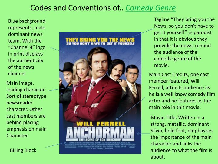 Codes and conventions of comedy genre