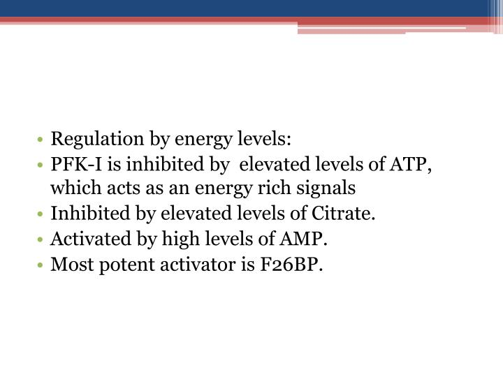 Regulation by energy levels: