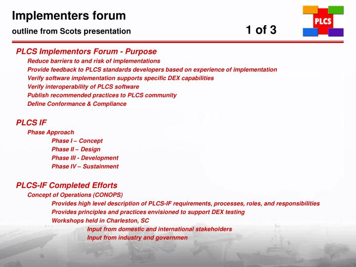 Implementers forum outline from scots presentation 1 of 3