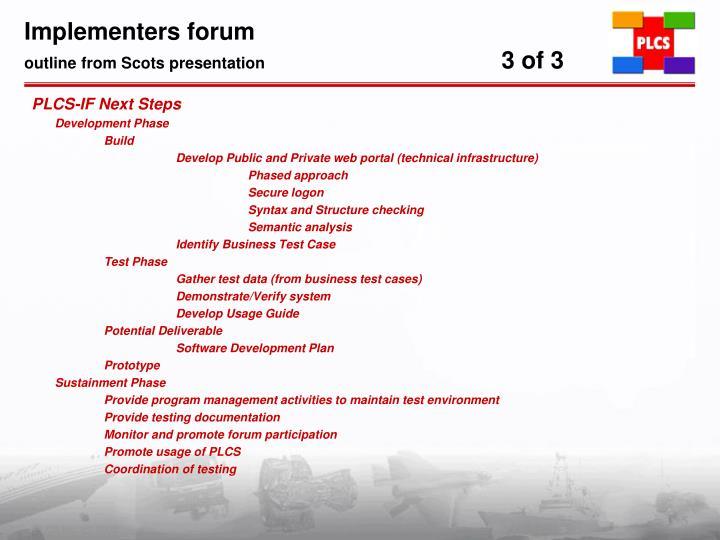Implementers forum