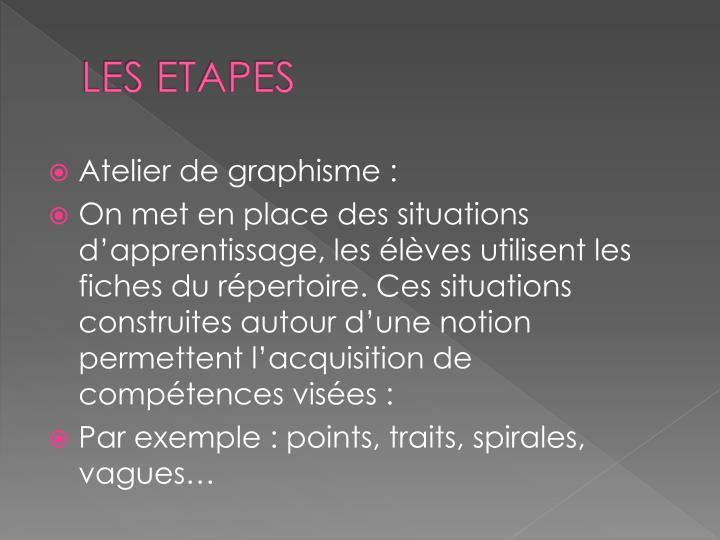 LES ETAPES