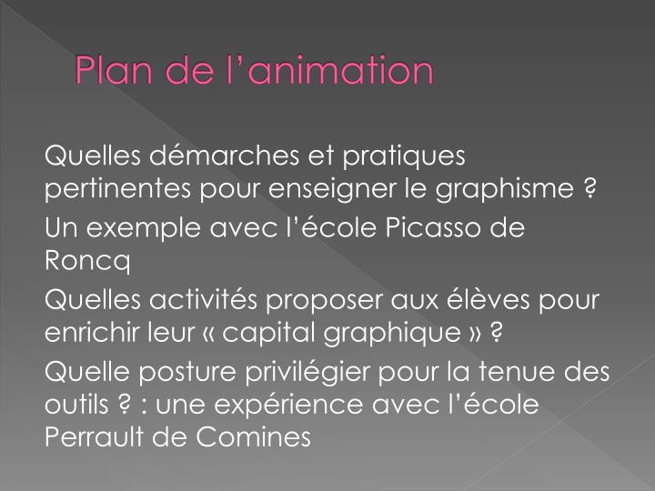 Plan de l animation