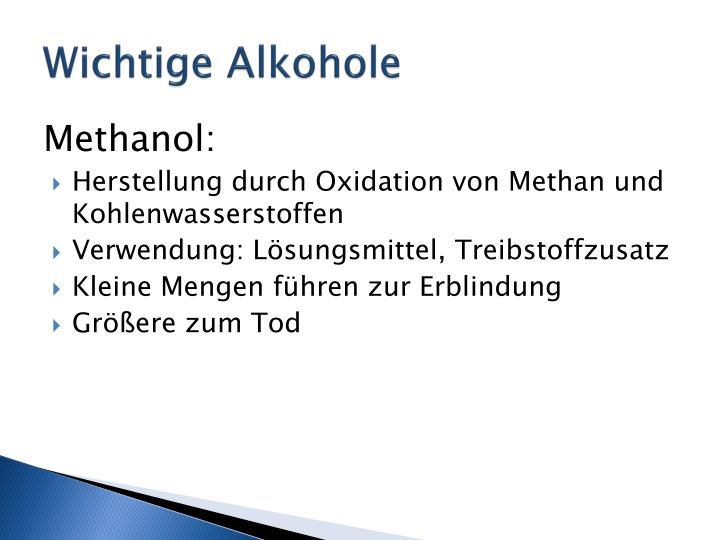 Wichtige Alkohole
