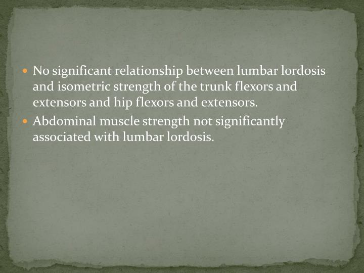 No significant relationship between lumbar