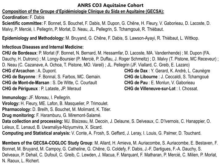 ANRS CO3 Aquitaine Cohort