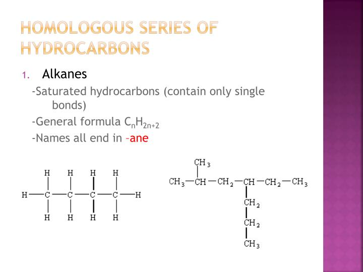Homologous Series of Hydrocarbons