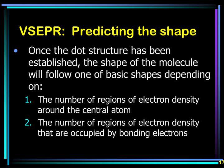 VSEPR:  Predicting the shape
