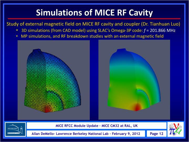 Simulations of MICE RF Cavity