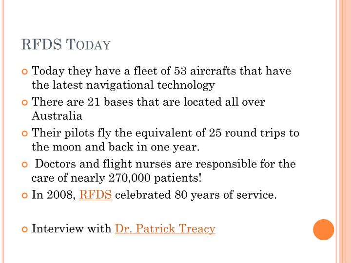 RFDS Today