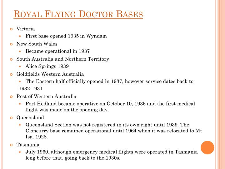 Royal Flying Doctor Bases