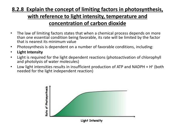 8.2.8  Explain the concept of limiting factors in photosynthesis, with reference to light intensity, temperature and concentration of carbon dioxide