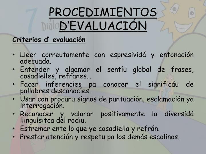 PROCEDIMIENTOS D'EVALUACIÓN