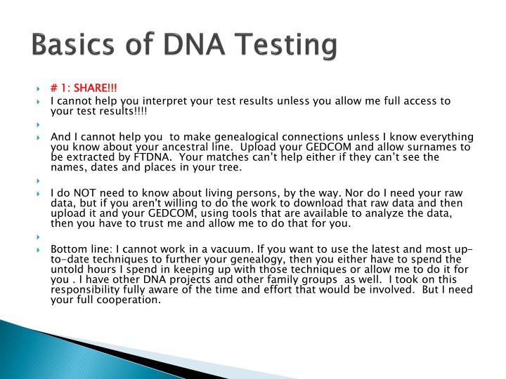 Basics of DNA Testing
