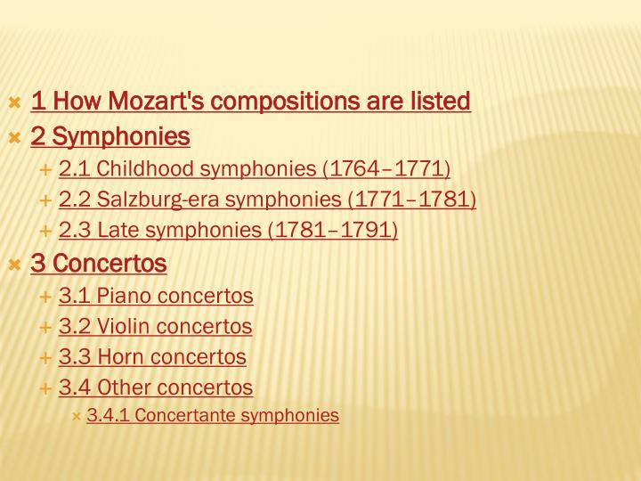 1 How Mozart's compositions are listed