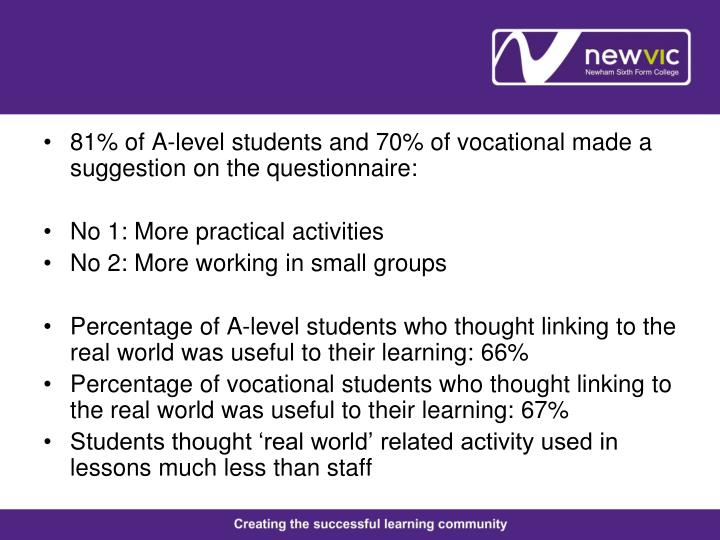 81% of A-level students and 70% of vocational made a suggestion on the questionnaire: