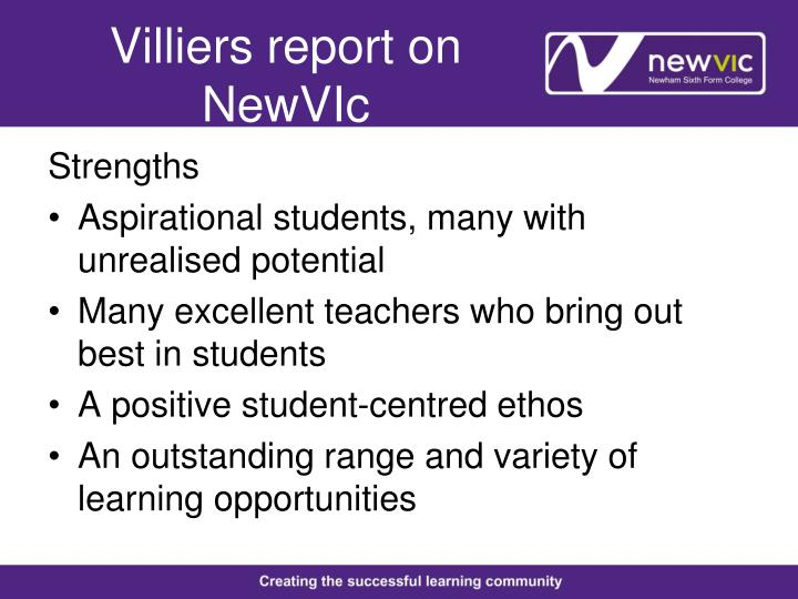 Villiers report on NewVIc