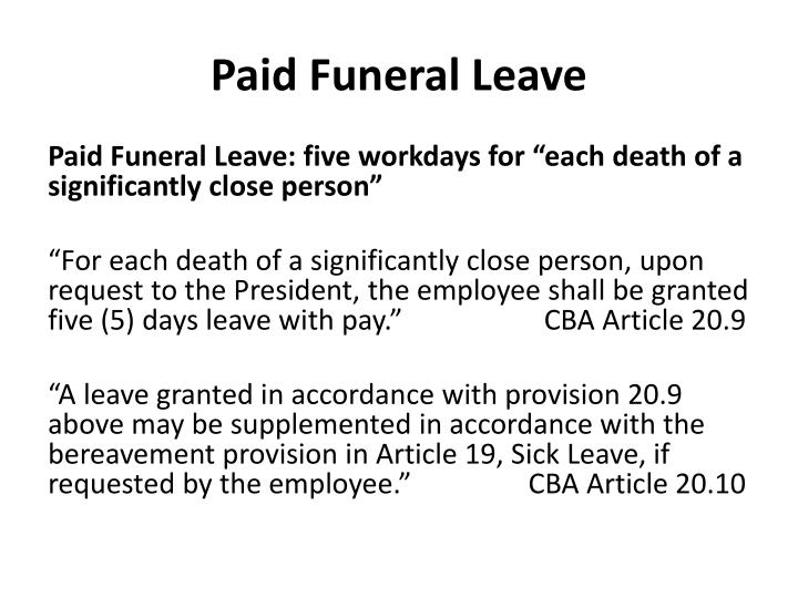Paid Funeral Leave