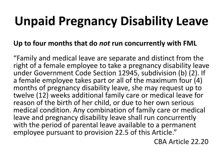 Unpaid Pregnancy Disability Leave
