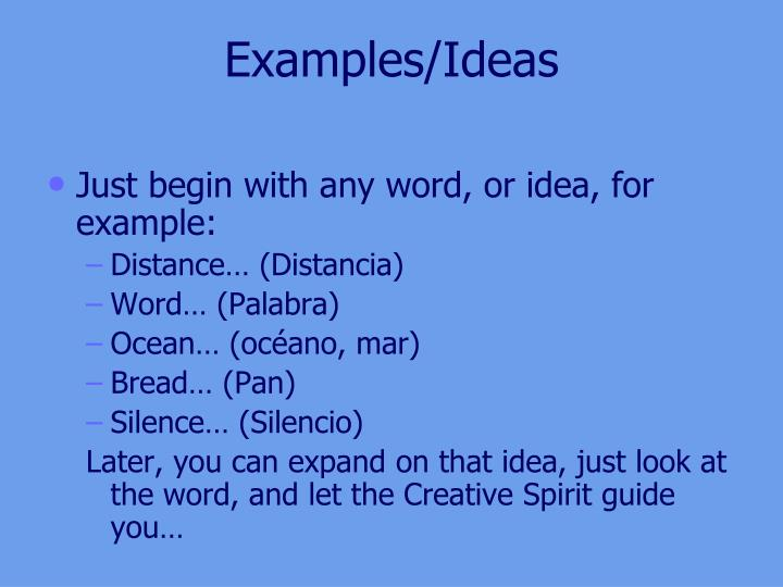 Examples ideas