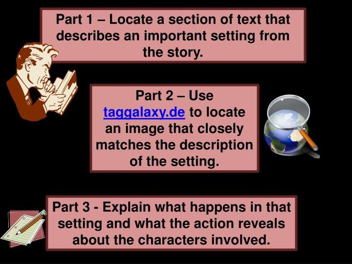 Part 1 – Locate a section of text that describes an important setting from the story.