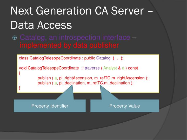 Next Generation CA Server – Data Access