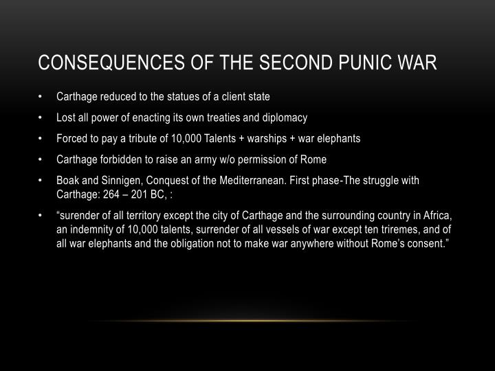 CONSEQUENCES OF THE SECOND PUNIC WAR