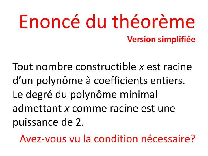 Enoncé du théorème