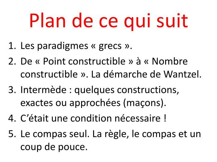 Plan de ce qui suit