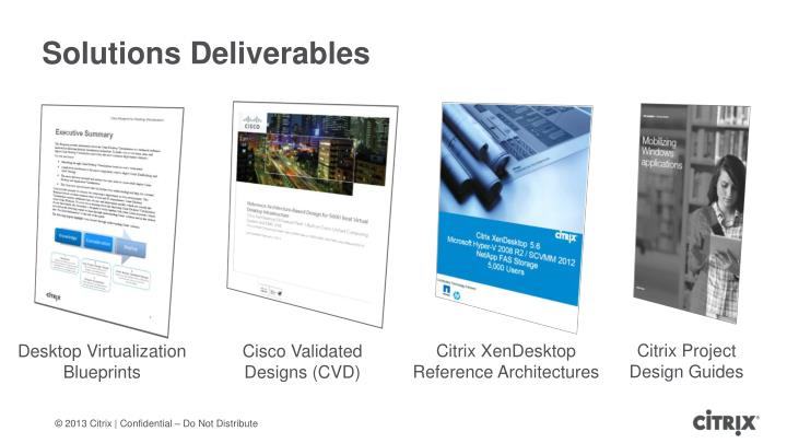 Solutions deliverables