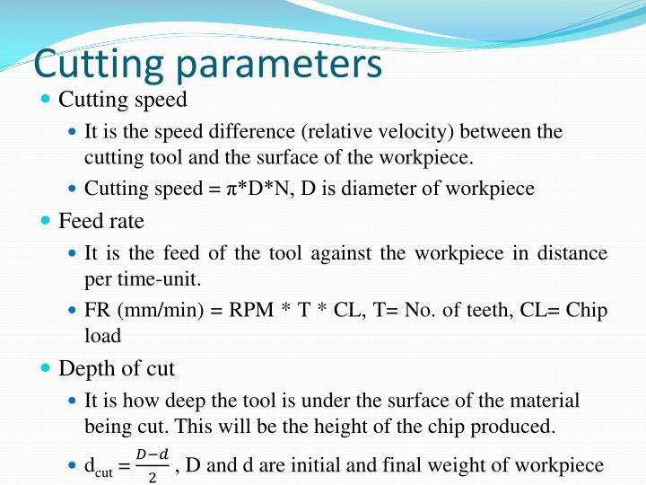 Cutting parameters