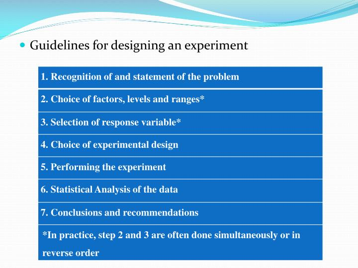 Guidelines for designing an experiment