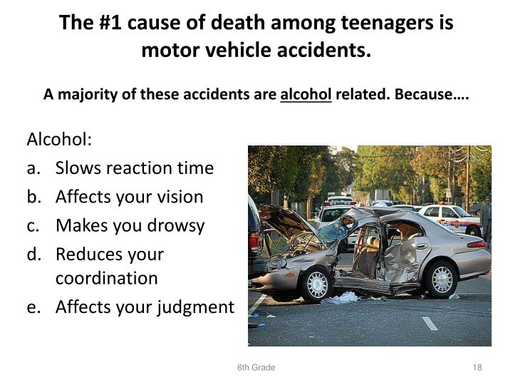 The #1 cause of death among teenagers is motor vehicle accidents.
