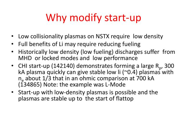Why modify start up