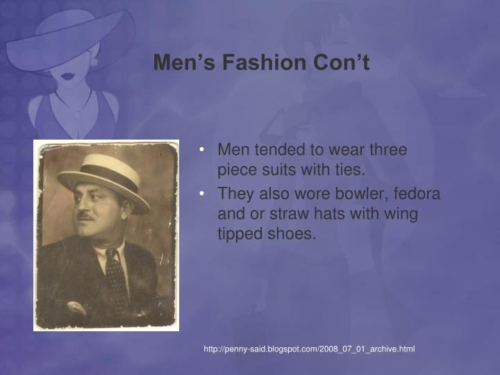 Men's Fashion Con't
