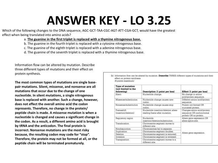 ANSWER KEY - LO 3.25