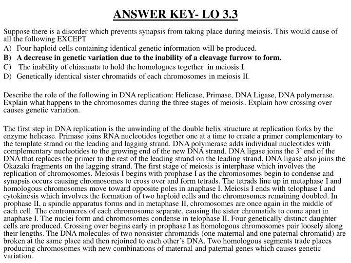 ANSWER KEY- LO 3.3