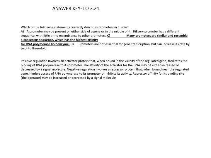 ANSWER KEY- LO 3.21