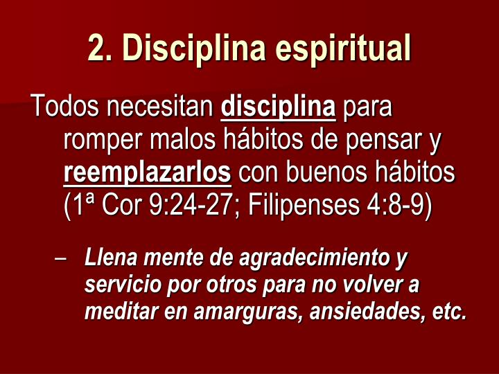 2. Disciplina espiritual