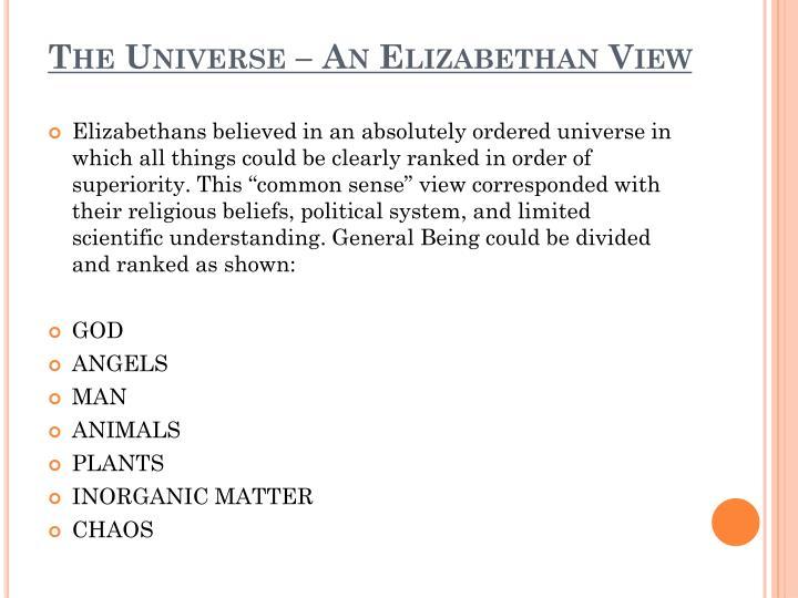 The Universe – An Elizabethan View