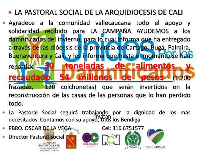 LA PASTORAL SOCIAL DE LA ARQUIDIOCESIS DE CALI