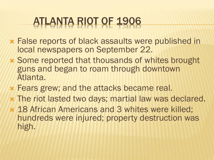 False reports of black assaults were published in local newspapers on September 22.
